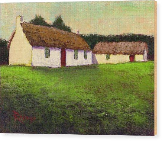 Irish Thatched Roof Cottages Wood Print by Bernie Rosage Jr