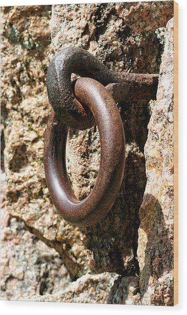 Iron Rings In Stone Wood Print