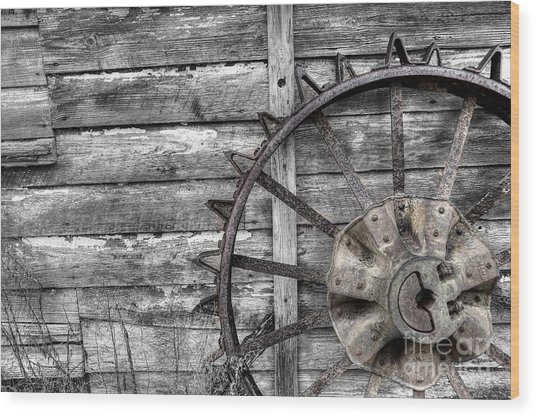 Iron Tractor Wheel Wood Print