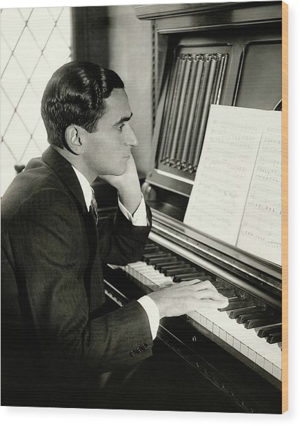Irving Berlin At A Piano Wood Print by Florence Vandamm