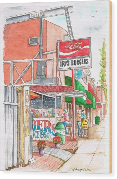Irv's Burgers In West Hollywood, California Wood Print