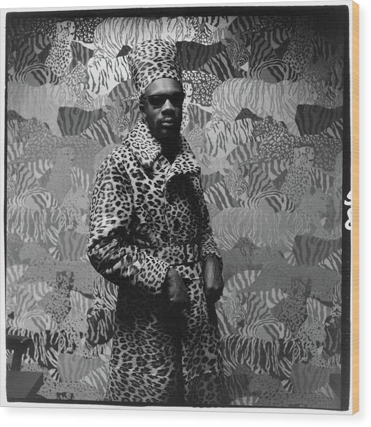 Isaac Hayes Wearing Leopard Print Wood Print