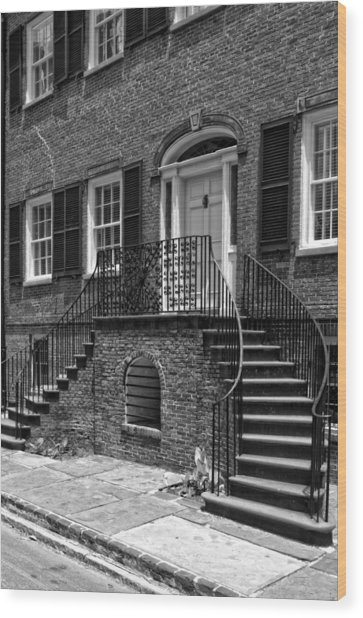 Isaiah Davenport House In Black And White Wood Print