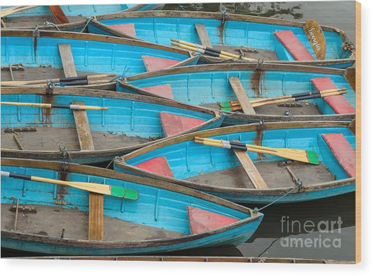 Isis Rowing Boats Wood Print by OUAP Photography