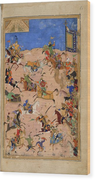 Iskandar And Dara In Battle Wood Print By British Library