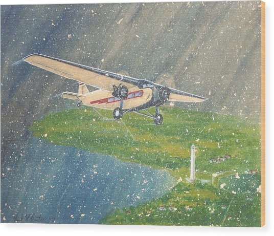 Island Airlines Ford Trimotor Over Put-in-bay In The Winter Wood Print