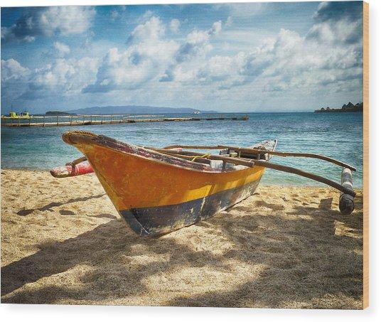 Island Boat Wood Print