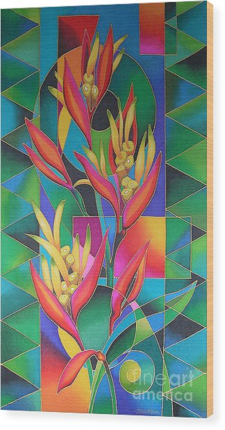 Island Flowers - Heliconia Wood Print