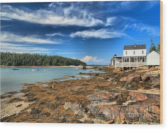 Wood Print featuring the photograph Isle Au Haut House by Adam Jewell