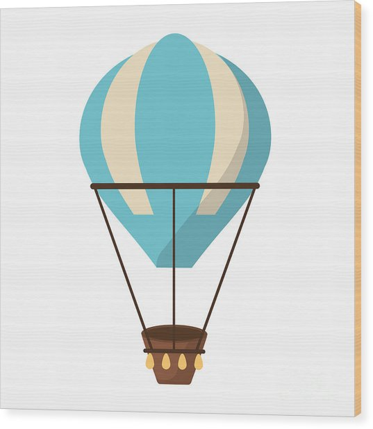 Isolated Hot Air Balloon Design Wood Print