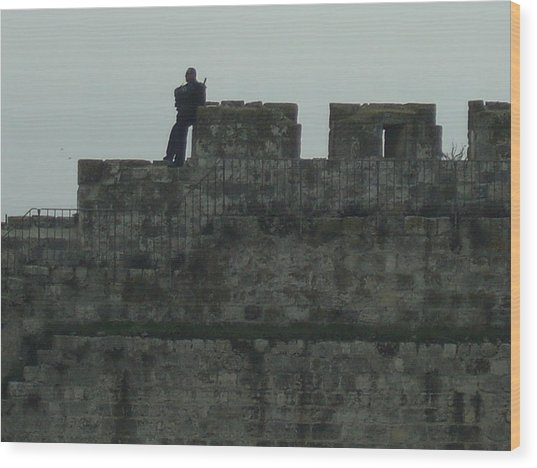 Israeli Soldier On The Walls Of The Old City Wood Print