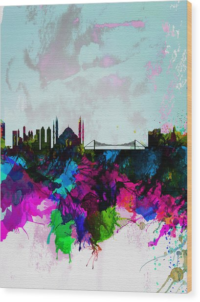 Istanbul Watercolor Skyline Wood Print