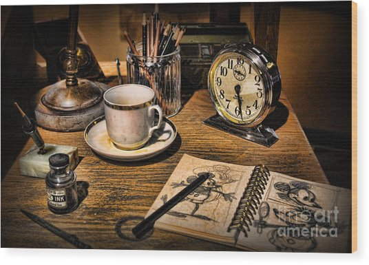 It Was All Started By A Mouse - Walt Disney's Desk Wood Print