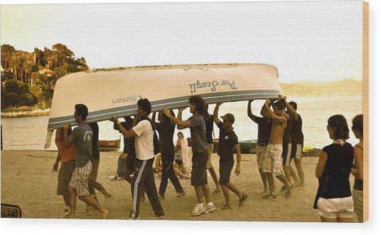 Italian Boys Loading Boat Wood Print