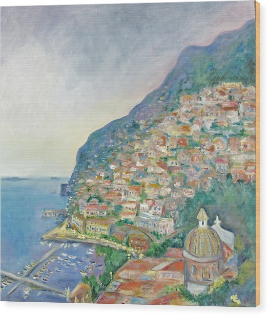 Italian Coast At Dusk Wood Print
