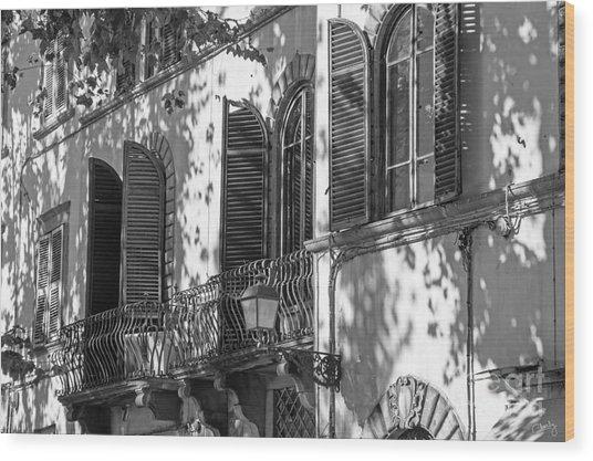 Italian Facade In Bw Wood Print