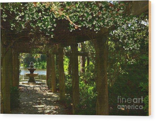 Italian Garden Pergola And Fountain Wood Print