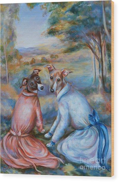 Italian Greyhounds Renoir Style Wood Print