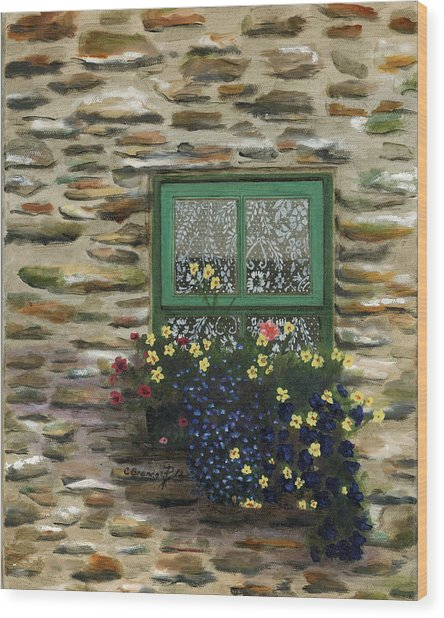 Italian Lace Window Box Wood Print by Cecilia Brendel