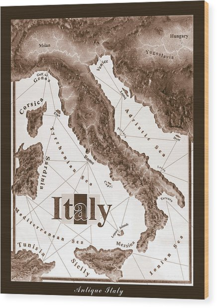 Italian Map Wood Print