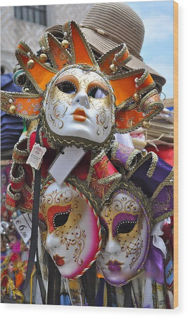 Italian Masks Wood Print