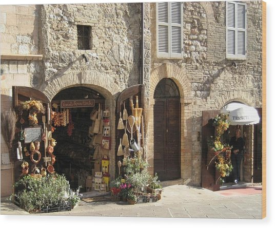 Italian Shops Wood Print by Crow River North Photography