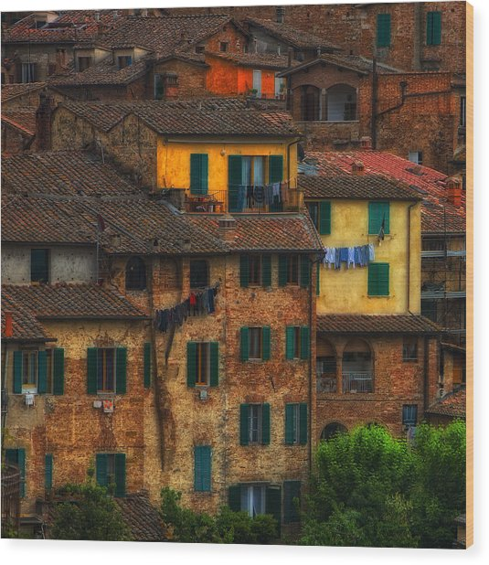 Italian Village View Wood Print