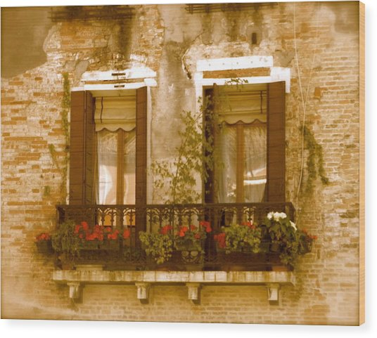 Italian Windowbox 3 Wood Print
