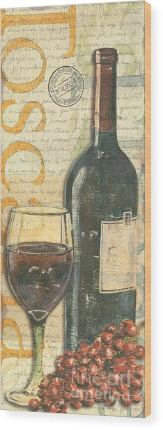 Italian Wine And Grapes Wood Print