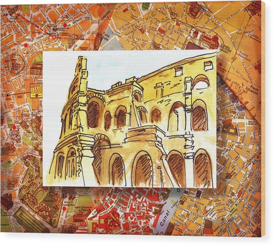 Italy Sketches Rome Colosseum Ruins Wood Print