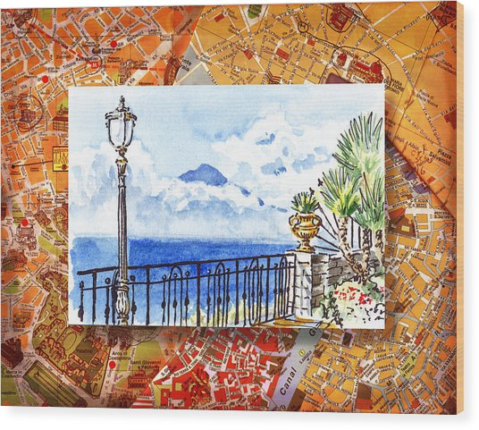 Italy Sketches Sorrento View On Volcano Vesuvius  Wood Print