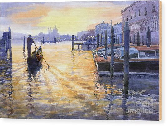 Italy Venice Dawning Wood Print