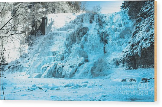 Ithaca Falls In Winter Wood Print