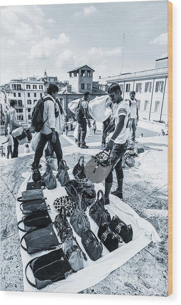 Itinerant Street Sellers Selling Fake Designer Goods Laid Out On Wood Print