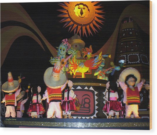 It's A Small World With Dancing Mexican Character Wood Print