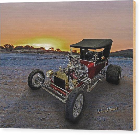 J B T Bucket Sunset Wood Print