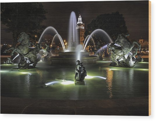 J C Nichols Fountain Wood Print