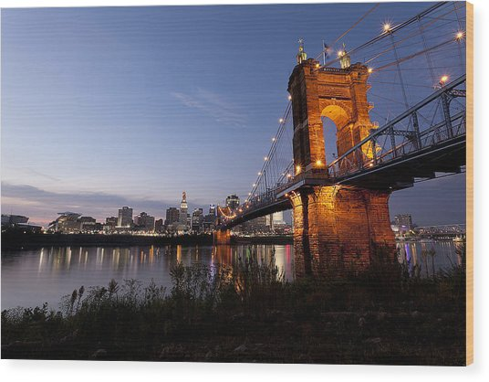 Wood Print featuring the photograph Ja Roebling Bridge by Chris Babcock