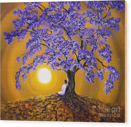 Jacaranda Sunset Meditation Wood Print