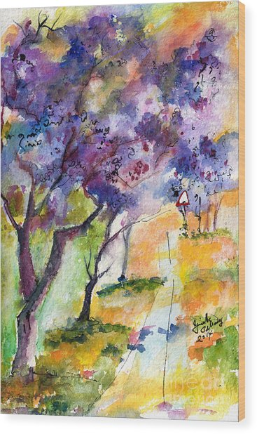 Jacaranda Trees Watercolor And Ink By Ginette Wood Print