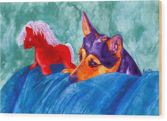 Jack And Red Horse Wood Print