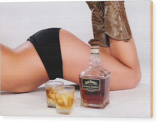 Jack Daniels Bottoms Up Wood Print