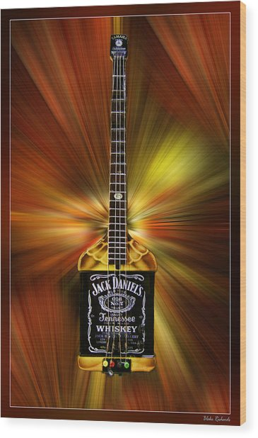 Jack Daniels Whiskey Guitar Wood Print
