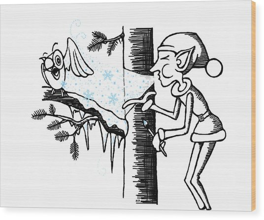 Jack Frost Holiday Card Wood Print