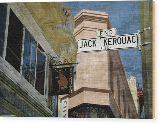 Jack Kerouac Alley And Vesuvio Pub Wood Print