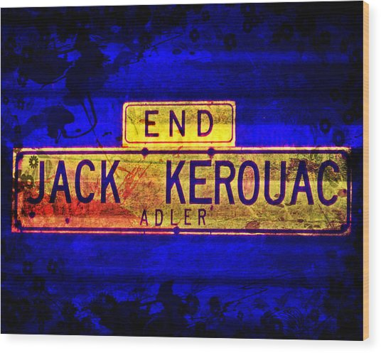Wood Print featuring the mixed media Jack Kerouac Alley by Michelle Dallocchio