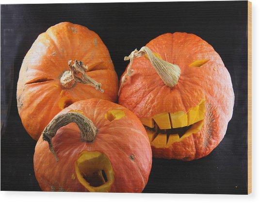Orange Jack-o-lanterns Anticipating Halloween Wood Print by Michael Riley