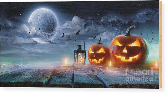 Jack O' Lanterns Glowing At Moonlight Wood Print