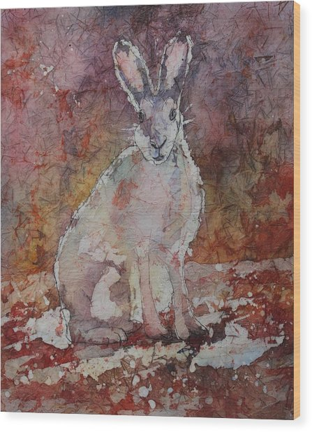 Wood Print featuring the painting Jack Rabbit by Ruth Kamenev