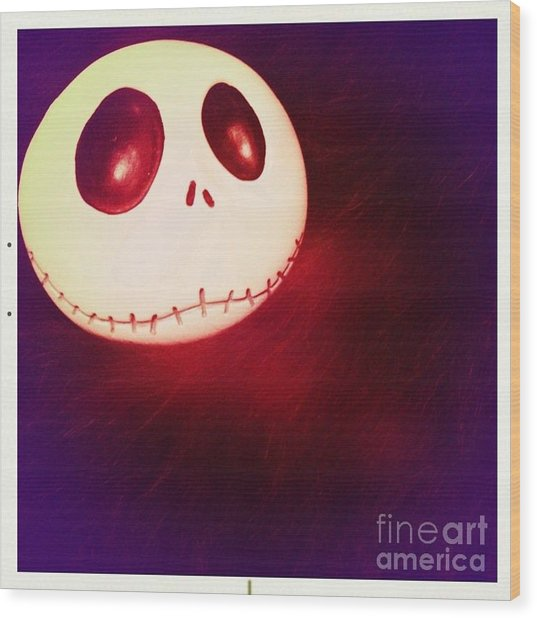 Jack Skellington Glowing Wood Print
